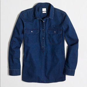 J. CREW Boy Fit Denim Pullover Shirt XSmall EUC